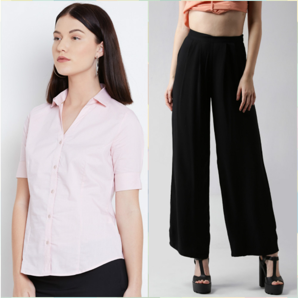 10 outfits for your first day at work - pink button down shirt and black flare pants
