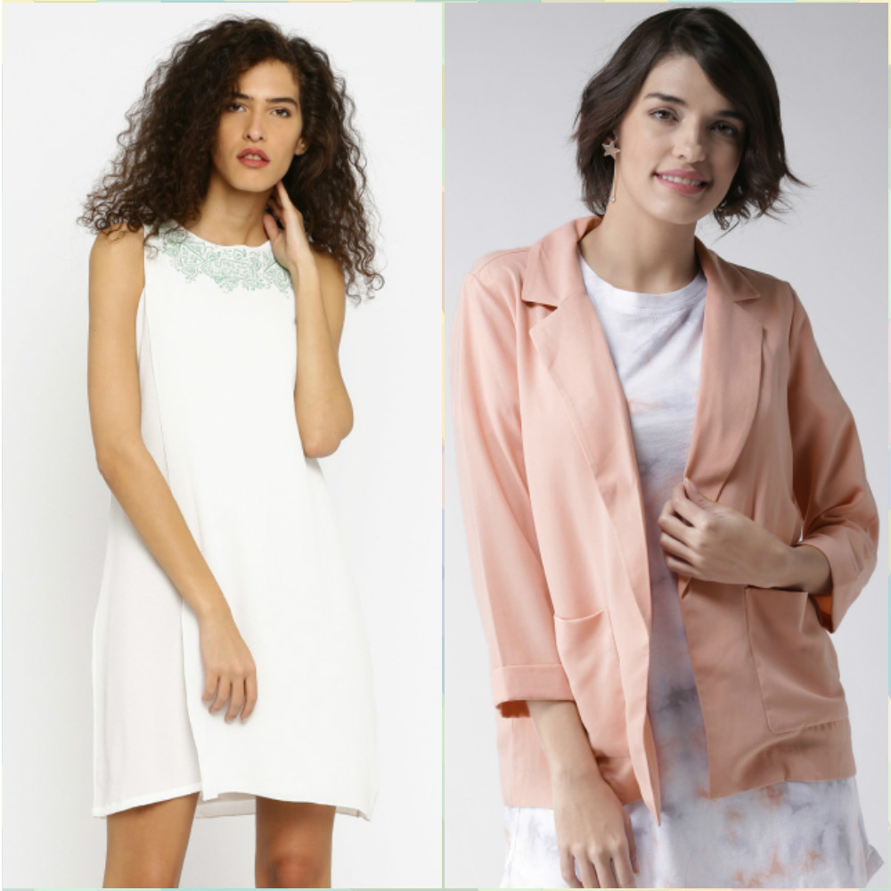 8 outfits for your first day at work - white shift dress - open front blazer