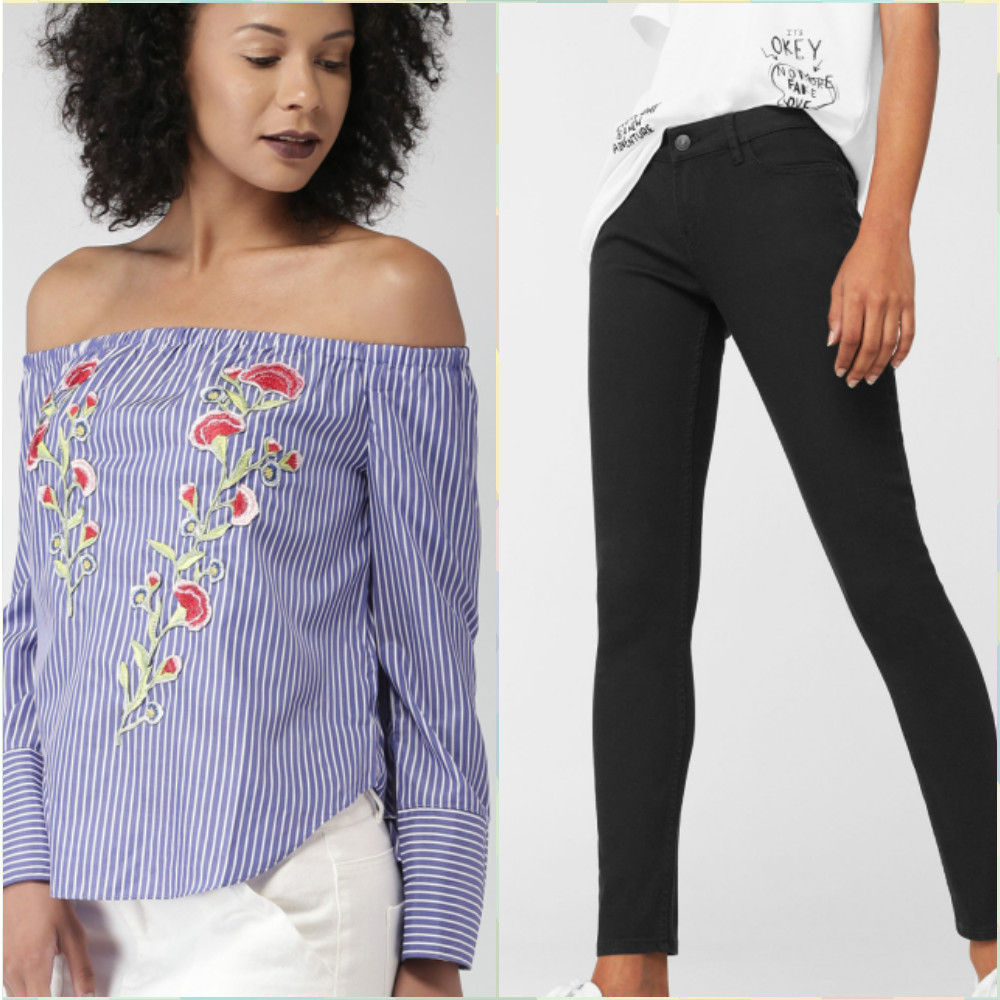 9 outfits for your first day at work - off shoulder top and black skinny jeans