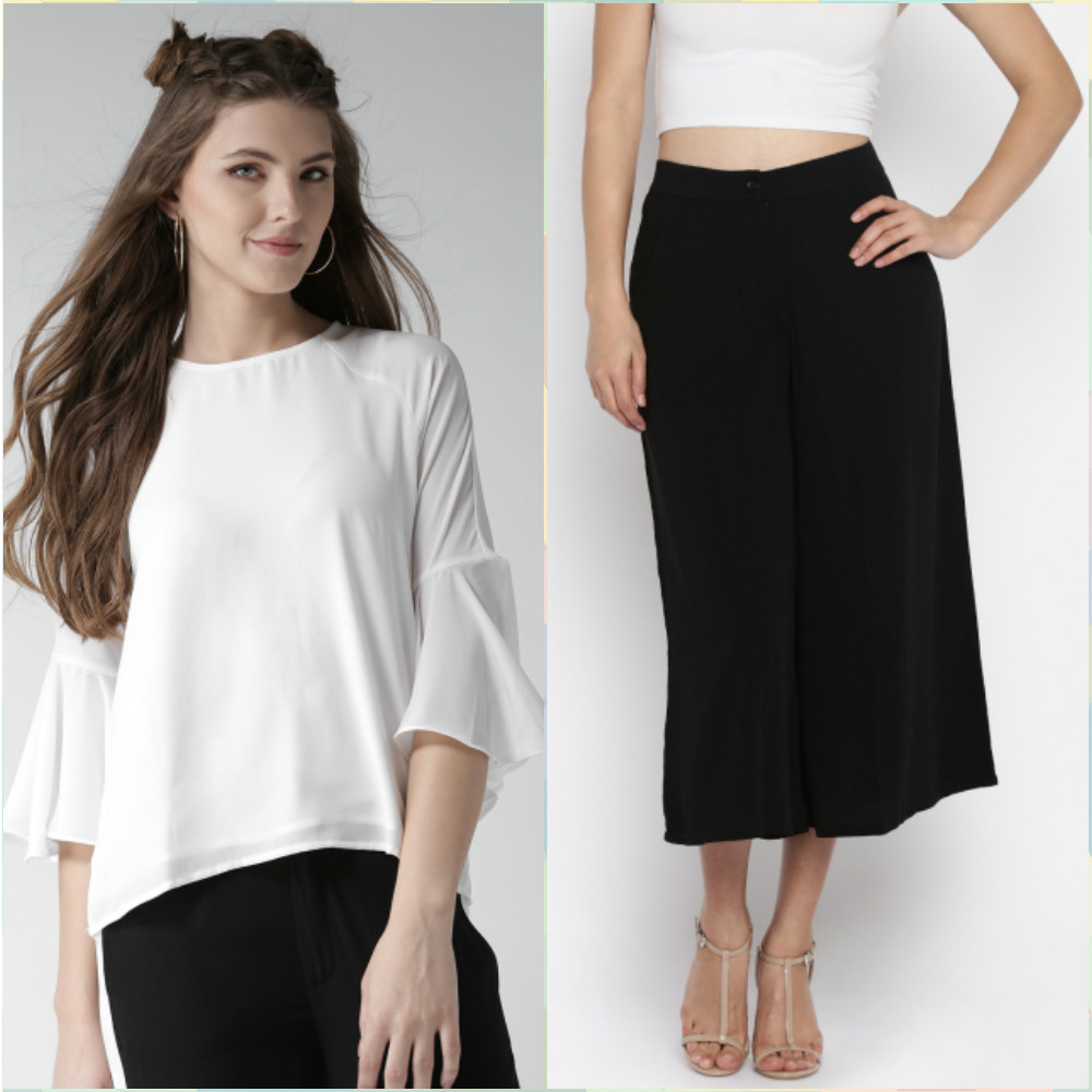 2 outfits for your first day at work - white top forever 21 - black culottes AND