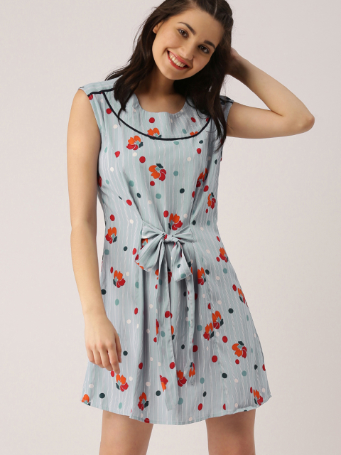 2  dresses that suit girls with dusky skin -DressBerry Women Blue Printed A-Line Dress