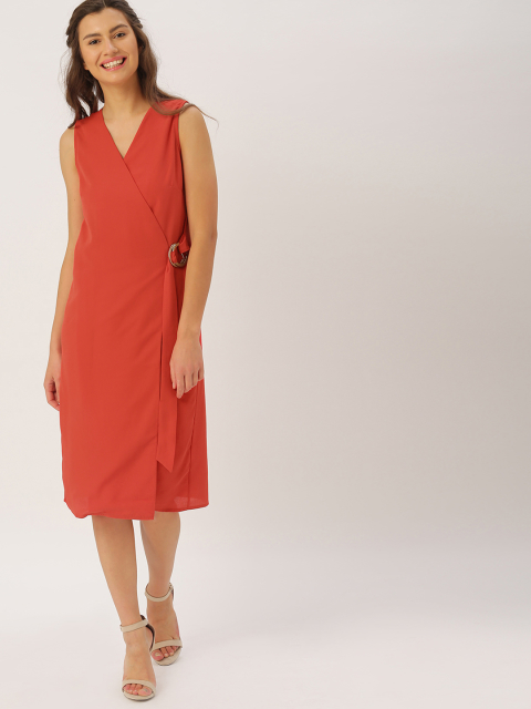 4 dresses that suit girls with dusky skin - DressBerry Red Solid Wrap Dress
