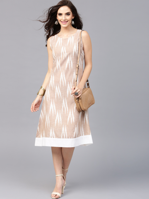12 dresses that suit girls with dusky skin -AKS Women Beige Ikat Pattern Midi A-Line Dress