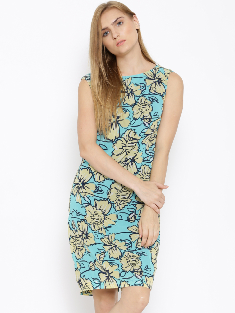 10 dresses that suit girls with dusky skin -Vero Moda Blue Polyester Printed Sheath Dress