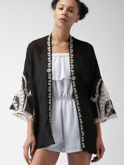 2 stylish capes and shrugs FOREVER 21 Black Embroidered Sheer Shrug
