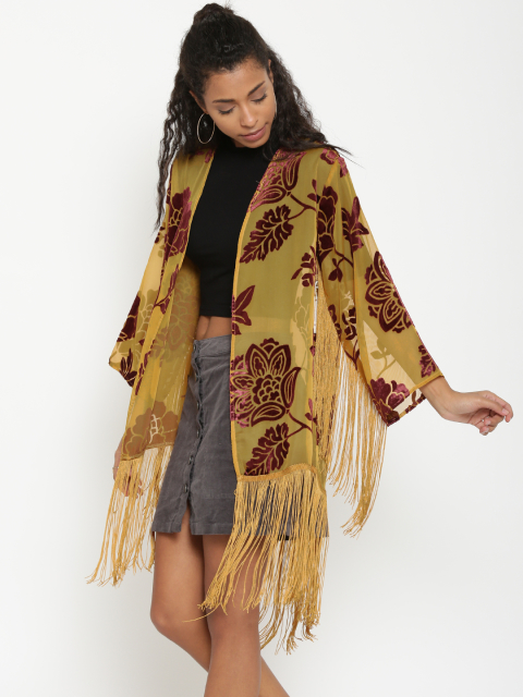 4 stylish capes and shrugs FOREVER 21 Mustard Yellow Fringed Printed Shrug