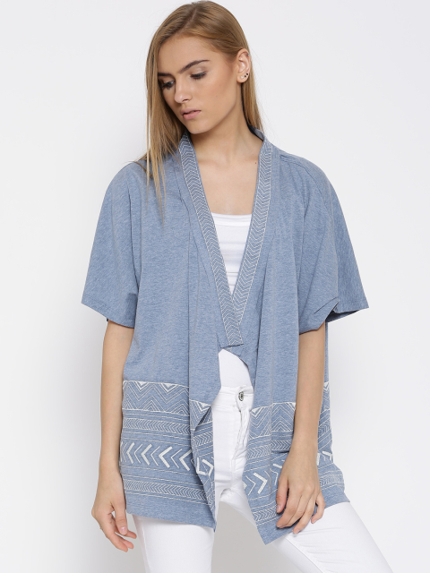 11 stylish capes and shrugs Vero Moda Blue Embroidered Shrug