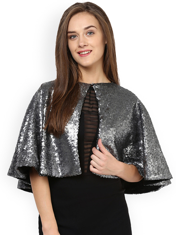 14 stylish capes and shrugs Miss Chase Silver-Toned Sequinned Cape Jacket