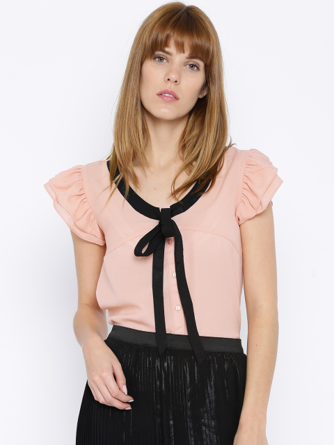 5 party tops DressBerry Women Pink Solid Regular Top