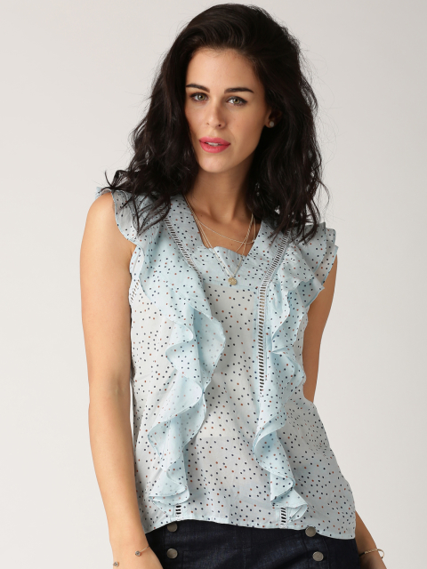 7 party tops All About You from Deepika Padukone Blue Polka Dot Print Ruffled Top