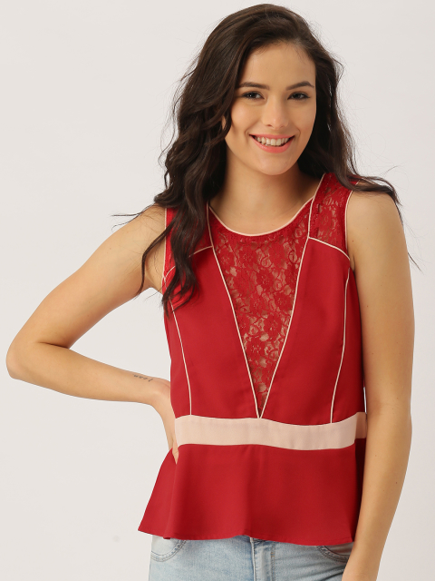9 party tops DressBerry Women Red Peplum Top