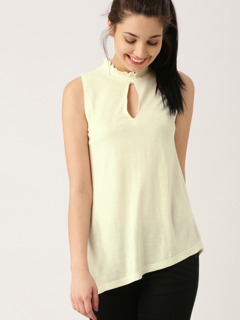 1 party tops DressBerry Women Cream Solid Top
