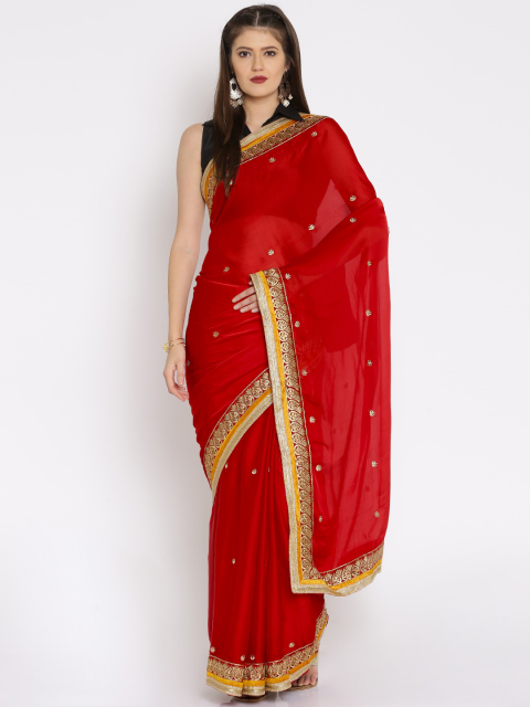 11 simple sarees - Red French Crepe Traditional Saree