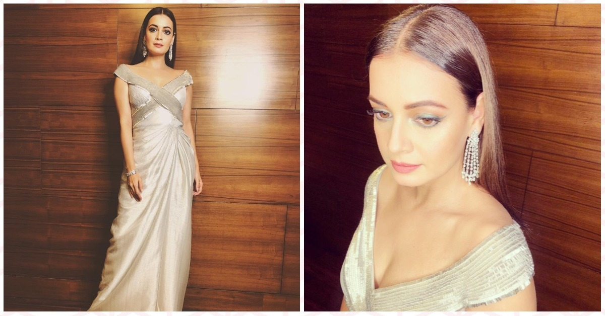 Mighty Monotone:  Dia Mirza Literally Looks Like A Goddess Drenched In Liquid Silver!