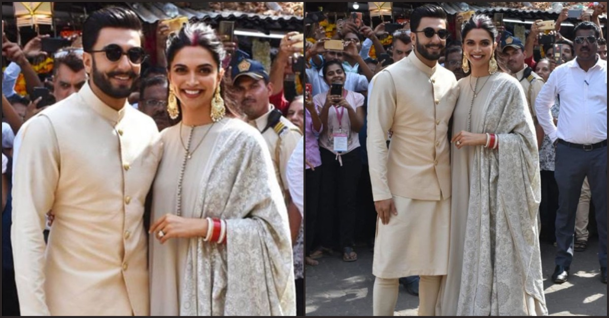 Twinning In Sabyasachi, Deepika Padukone And Ranveer Singh Visit The Siddhivinayak Temple!