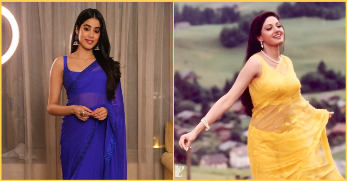Janhvi Kapoor's Custom Saree Is 'An Ode To Chandni' And It's Making Us Miss Sridevi Even More