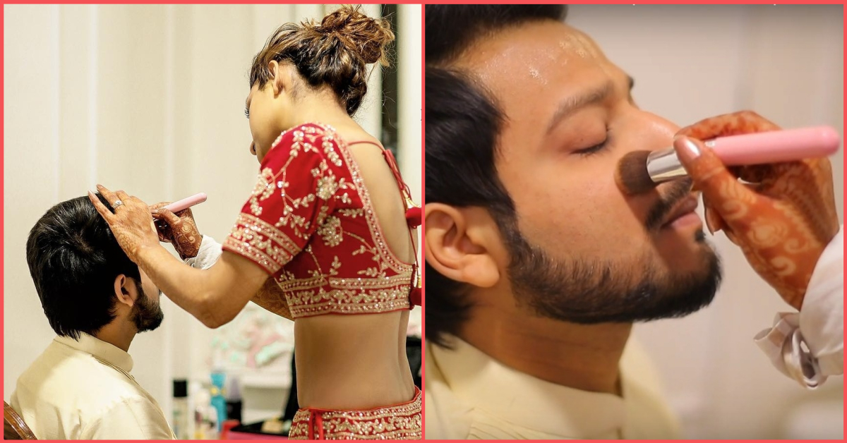 This Video of A Bride Doing Her Husband's Makeup On Their Wedding Day Is Beautifully Bizarre