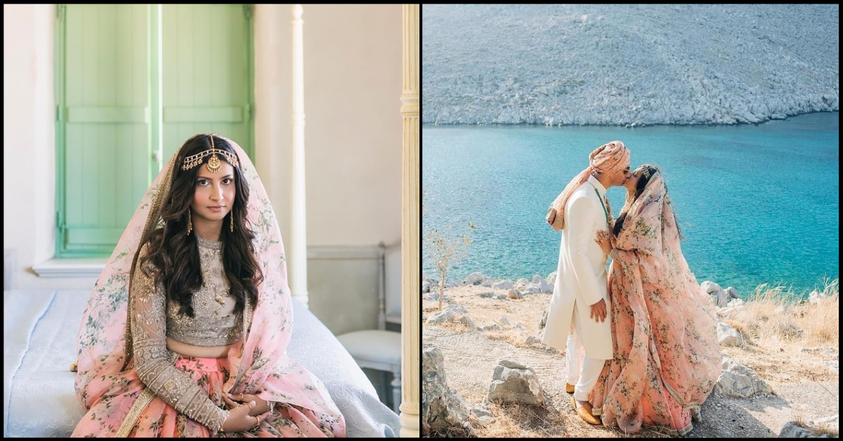 We Can't Decide What's More Beautiful - This Bride's Sabyasachi Lehenga Or Her Greece Wedding!