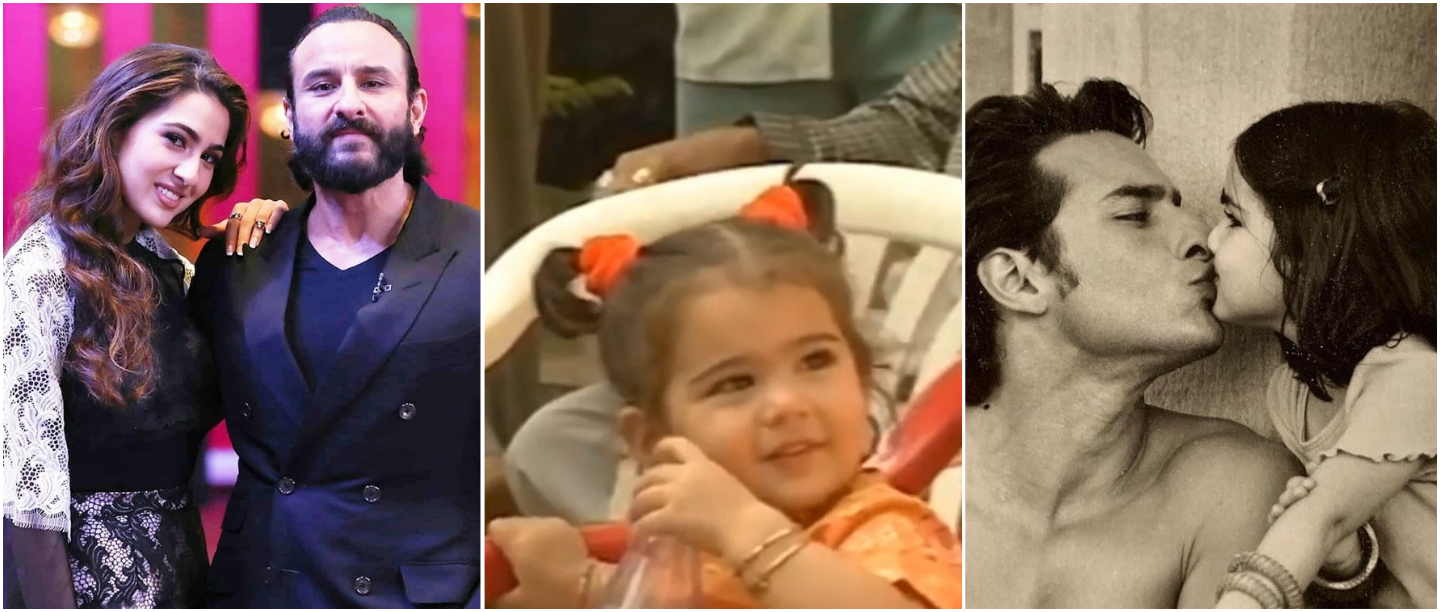 Baby Sara Ali Khan Chilling With Dad Saif On The Set Is The Cutest Thing You'll See Today!