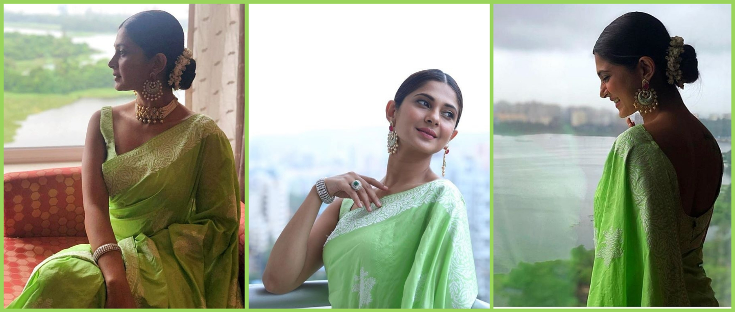The (Green) Apple Of My Eye: Jennifer Winget Stuns In A Saree At Her Bestie Ki Shaadi