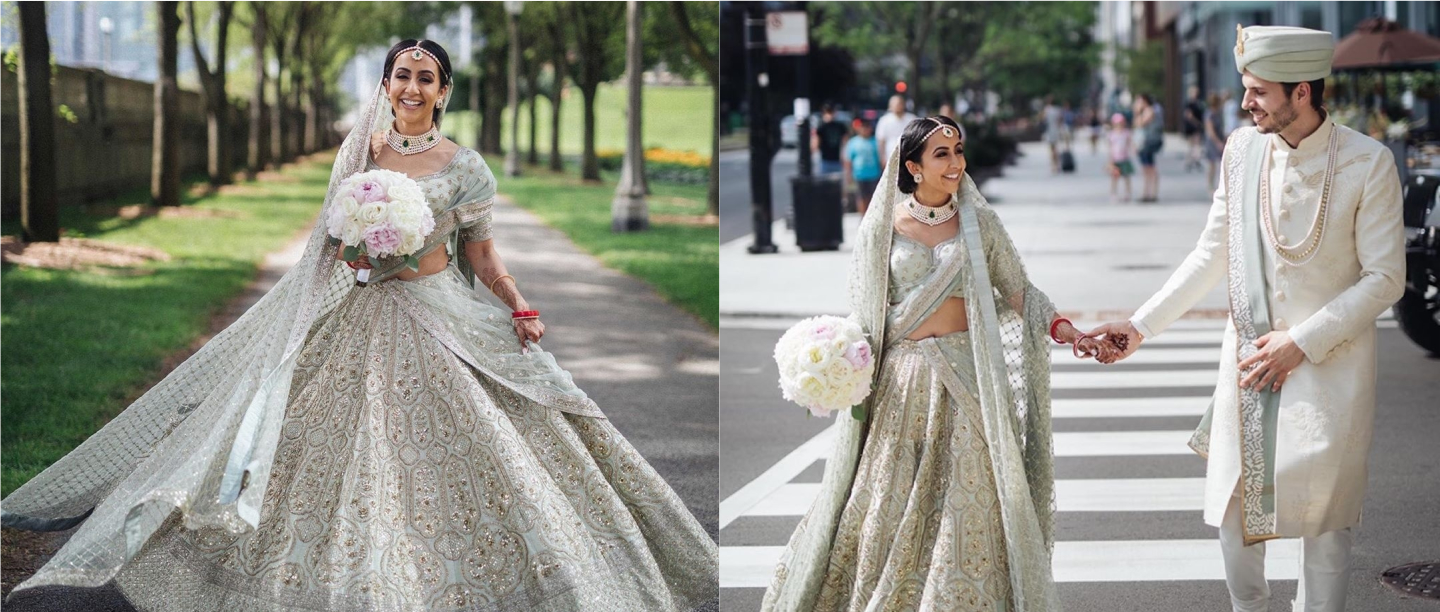 NRI Bride Ditches Traditional Red, Stuns In Pastel Green Lehenga At Her Wedding