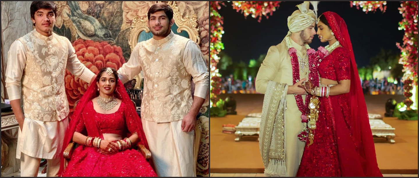 Babita Phogat Wore The Same Sabya Lehenga As PC's For Her Wedding & We're Still In Love