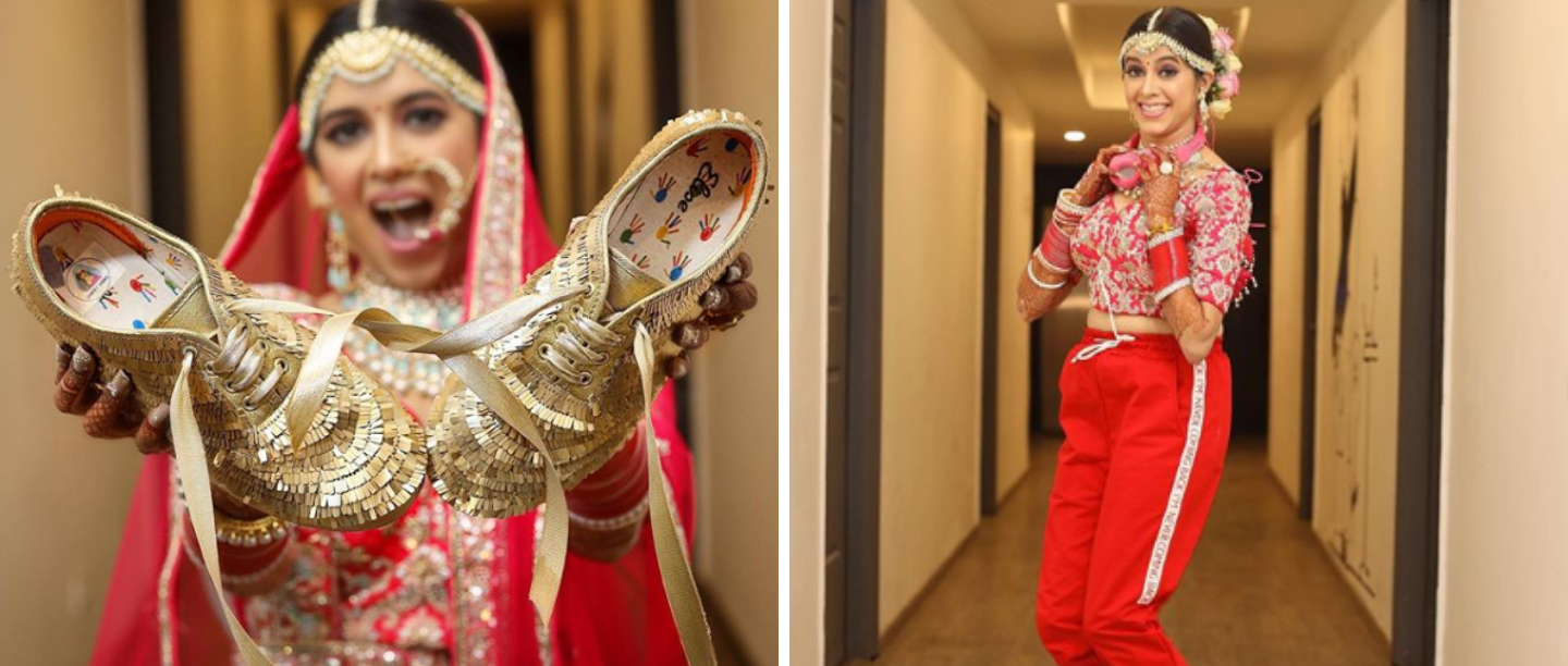 #TrendAlert: This Bride Ditched Her High Heels For A Pair Of Gold Sneakers!