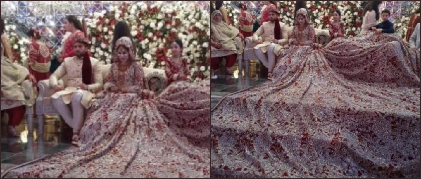 This Pakistani Bride Wore A 100 Kg Lehenga & You Thought Only You Were Extra!