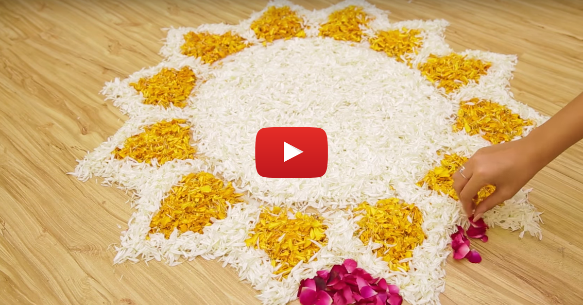Beautiful Flower Rangoli Design To Try This Diwali!