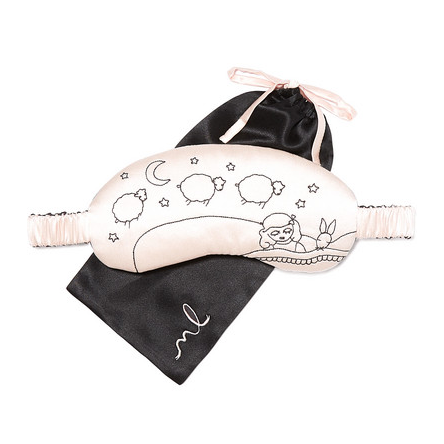 Lanie Embroidered Silk-Charmeuse Eye Mask