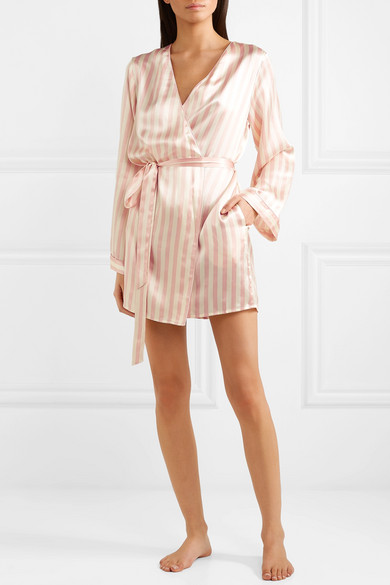 Langley Striped Silk-Charmeuse Robe