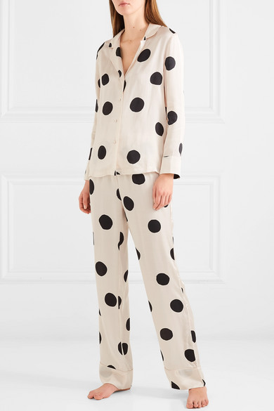 Bluemoon Polka-Dot Satin Pajama Set