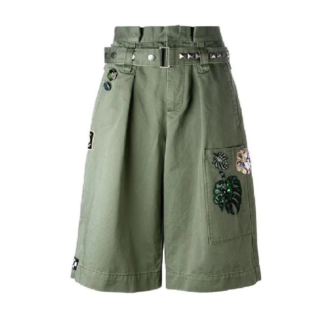 Embroidered Long Cargo Shorts
