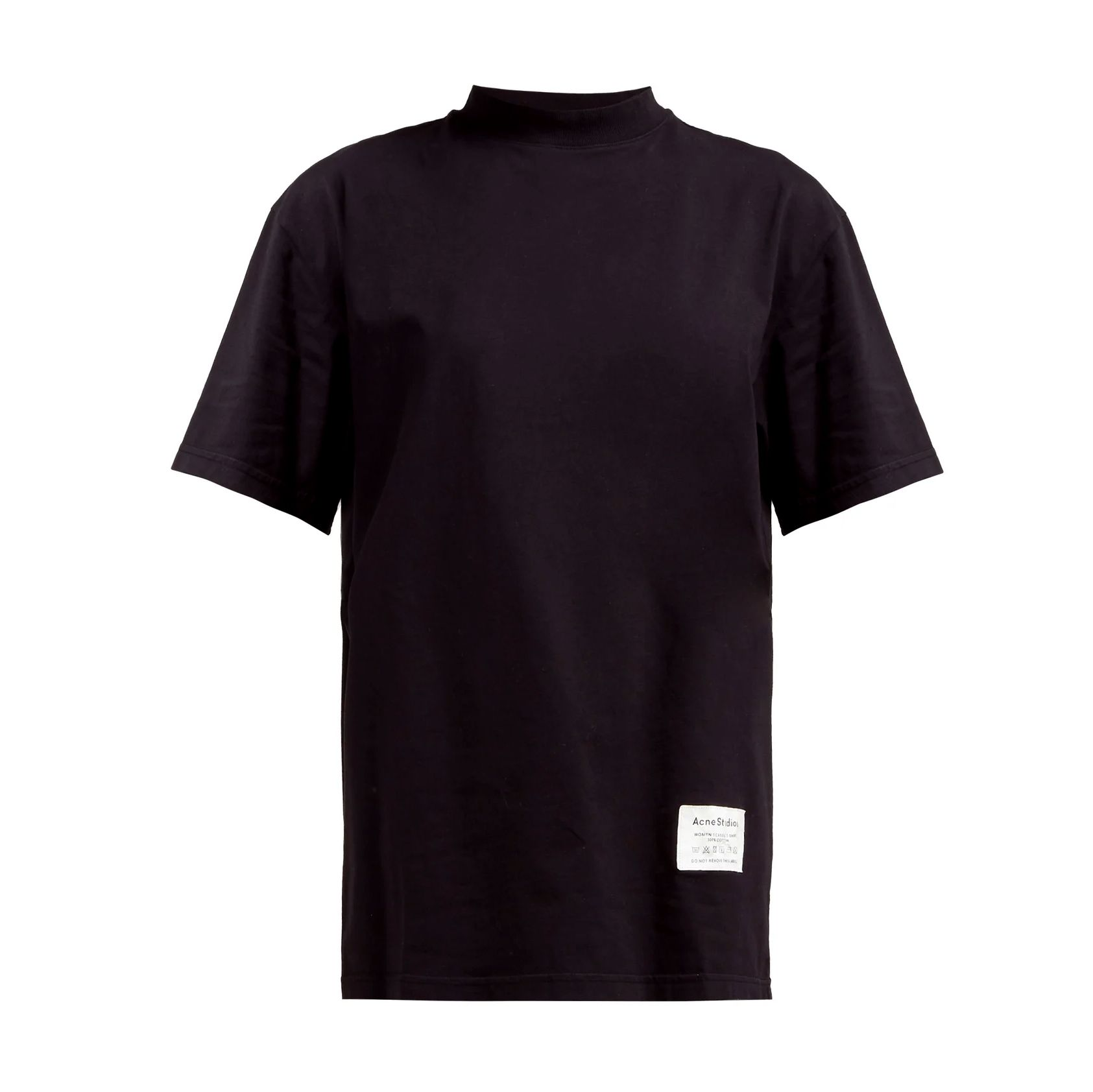 Wash Label Mock-Neck Cotton T-Shirt