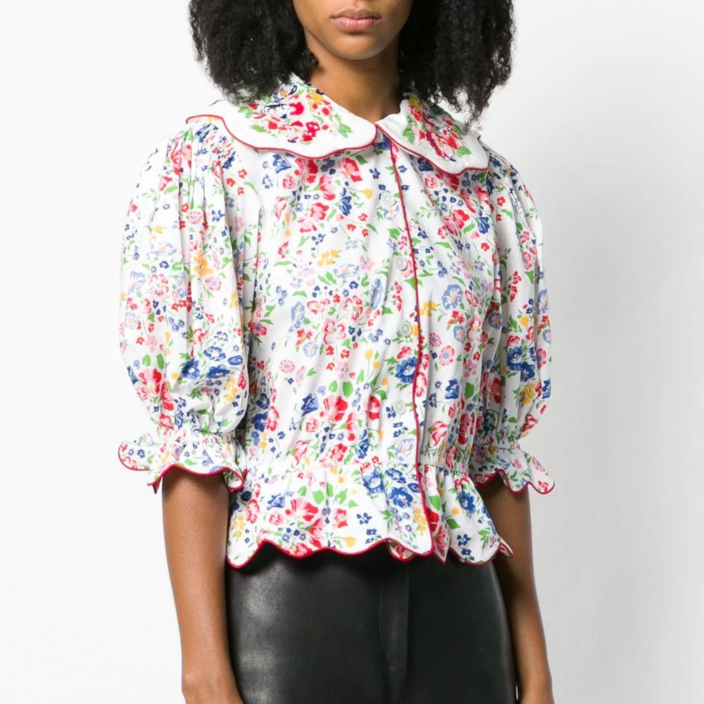 Floral Print Puff Sleeve Blouse