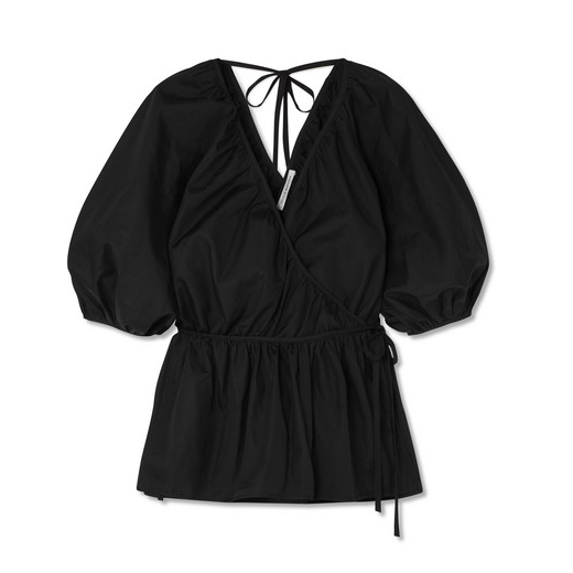 Aina Ruffled Cotton-Poplin Wrap Blouse