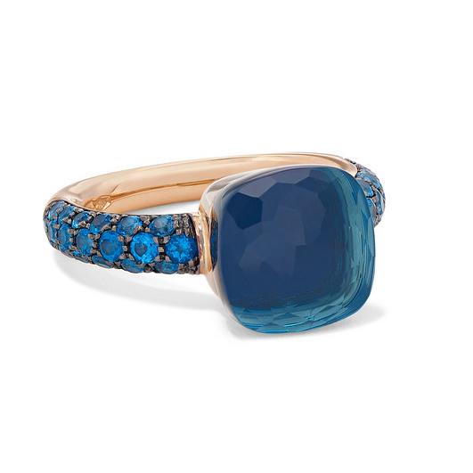 Nudo 18-Karat Rose And White-Gold, Lapis Lazuli And Topaz Ring