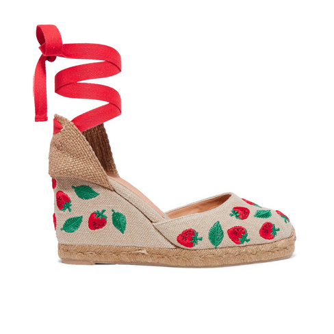 Carina 80 Embroidered Canvas Wedge Espadrilles