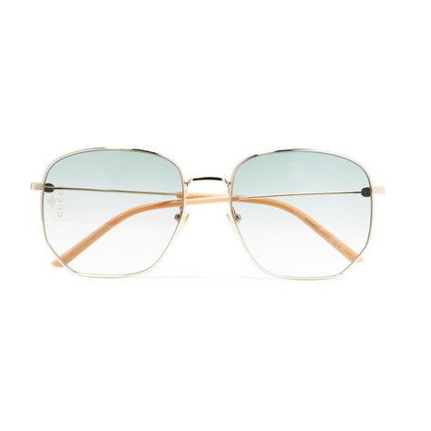 Hexagon-Frame Gold-Tone And Acetate Sunglasses