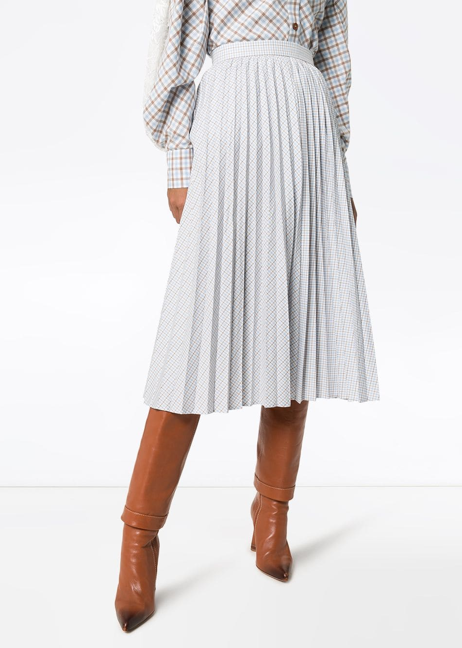 Pleated Dual-Pattern Check Midi Skirt