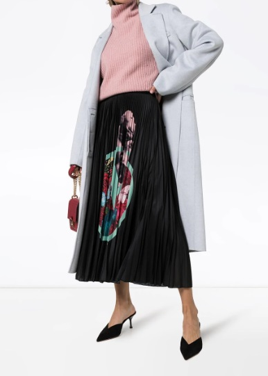 Lover Print Pleated Midi Skirt