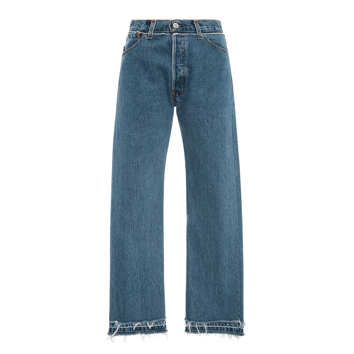 Mid-Rise Stovepipe Straight-Leg Jeans