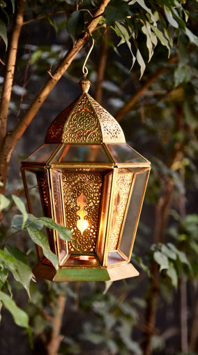 Antique Brass Glasshouse Lantern