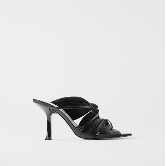 Leather High Heel Sandals With Gathering