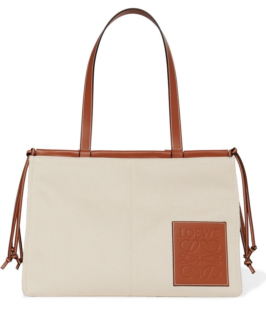 Cushion Large Leather-Trimmed Canvas Tote