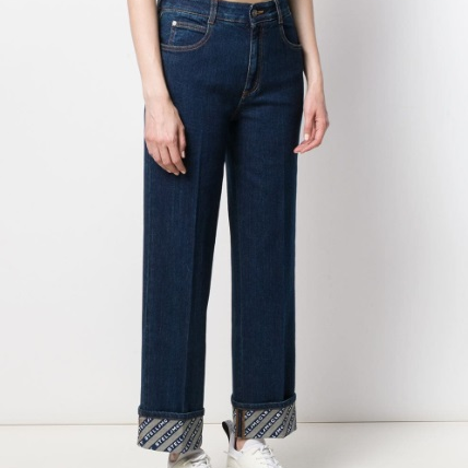 Monogram-Trim Straight-Leg Jeans