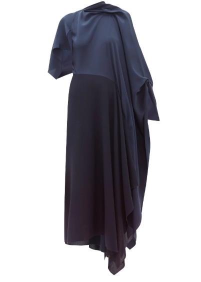 Calhern Asymmetric Draped Silk And Wool Dress