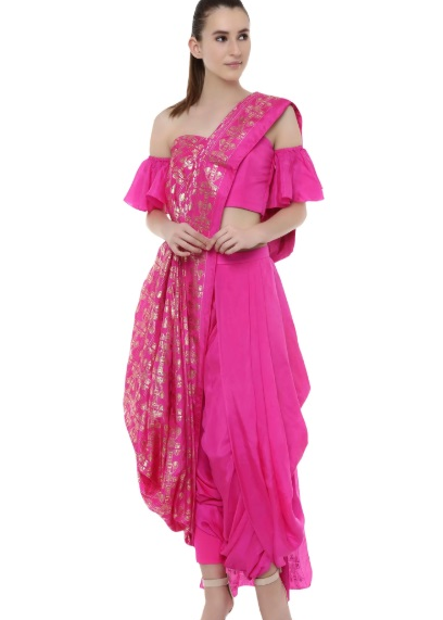 Pre-Draped Dhoti Saree With Attached Blouse