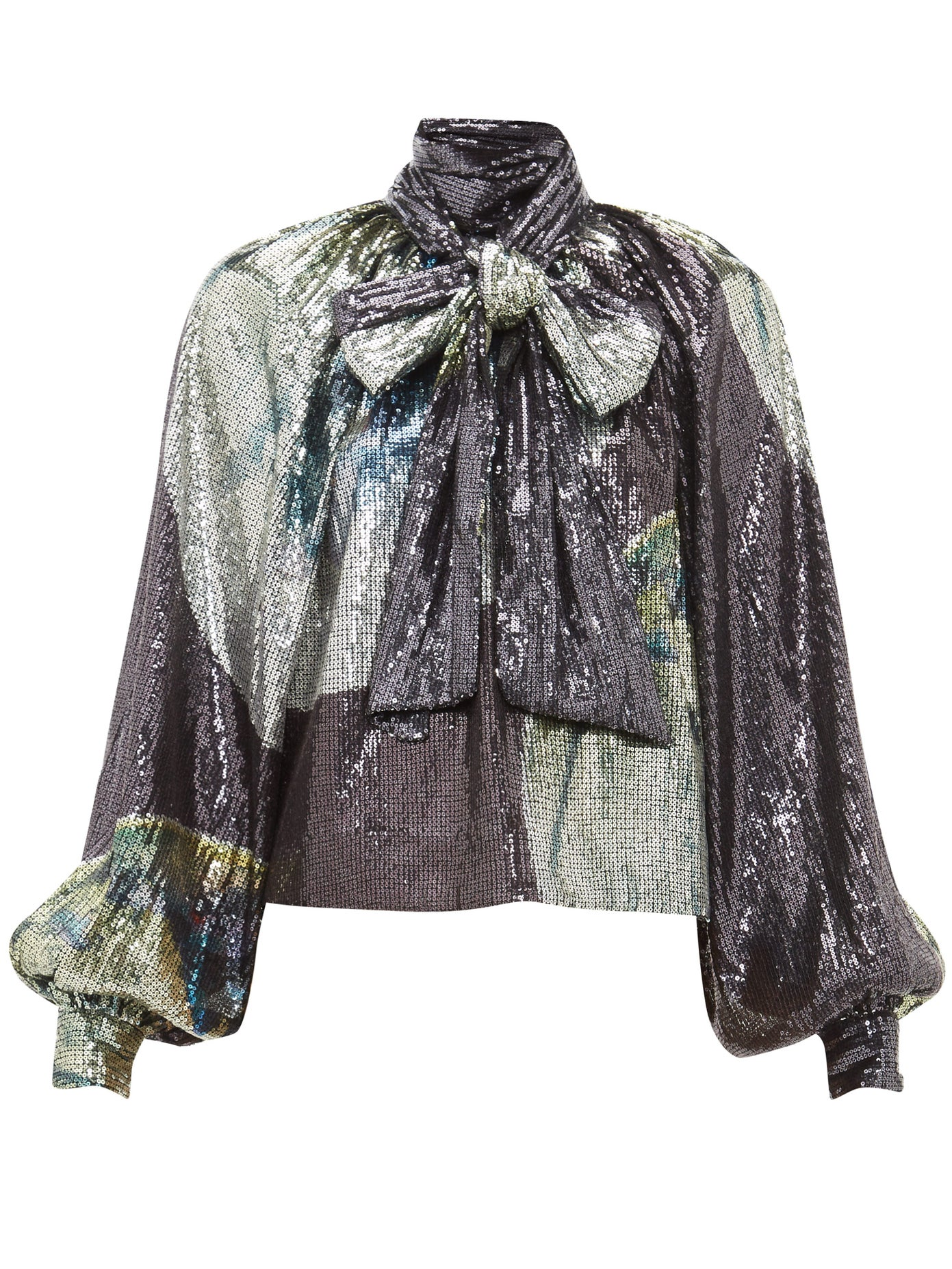 Pussy-Bow Sequinned Blouse