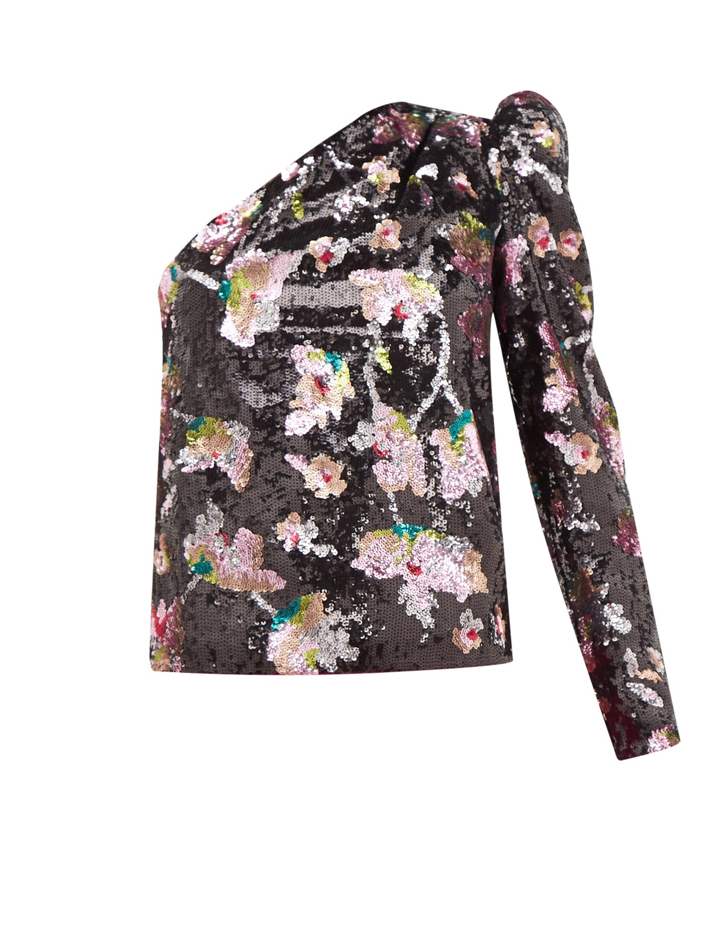 One-Shoulder Sequin-Floral Velvet Top